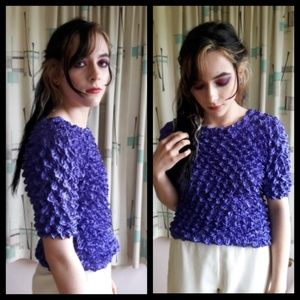Awesome Vtg 80's  purple scrunchy top!